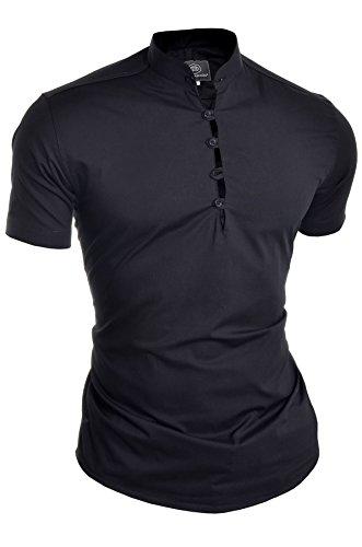 D&R Fashion Camisa de Manga Corta para Hombres Collar de Abuelo Casual Inteligente Ajustado Algodón Cuello en V