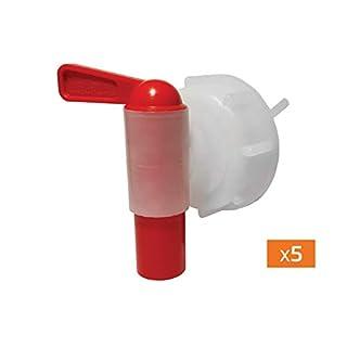 18-mm-Aeroflow TM -Rücklaufhebelhahn für starre Behälter mit Gewinde nach DIN51 (5er-Pack)