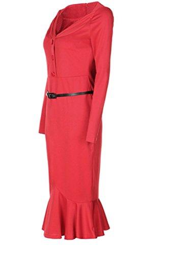 Ghope Femme Robe col V cocktail Longue Manches Femmes jupe Fishtail OL business crayon pour soirées Party pour Femme Rouge