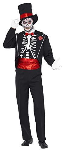 Smiffys, Herren Tag der Toten Kostüm, Jackett, Mock Hemdfront, Hut und Handschuhe, Größe: M, ()