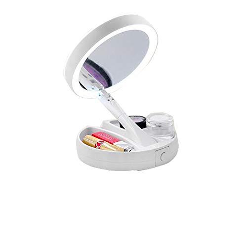 Bello LunaEspejo de Maquillaje Plegable con Luces, Lupa 10X y Espejo cosmético de rotación Libre...