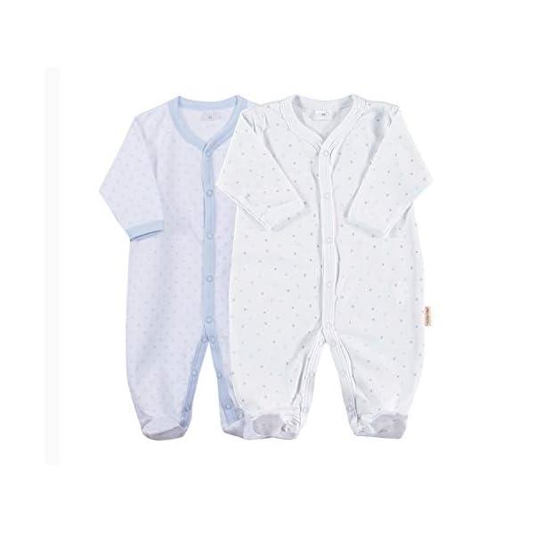 Petit Oh! - Pack de 2 Pijamas de Manga Larga para bebé 100% algodón Pima Talla 3-6 Meses 2