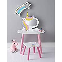 A2Z Home Solutions Children Girls Bedroom Unicorn Vanity Set with Stool & Mirror Wooden Furniture Dressing Table