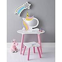 A2Z Home Solutions® Juego de tocador de unicornio con taburete y espejo de madera para niños y niñas - Muebles de Dormitorio precios