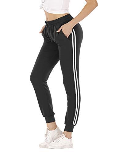 OranDesigne Damen Jogginghose Sporthose Freizeit Hose Baumwolle Lang für Jogging Laufen Fitness Traininghose mit Streifen 01 A Schwarz Large