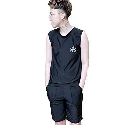 BaronHong Tomboy Trans Lesben Kompression Brustbinde Bademode Set Tops + Pants (schwarz, M)