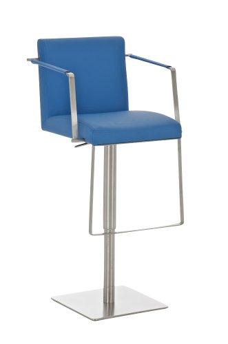 CLP Tabouret de bar en acier inoxydable SANTIAGO, hauteur assise: 59-79 cm, chaise de bar, dossier et repose-pieds bleu