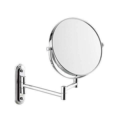 Doppelseitiger, an Der Wand Befestigter, Drehbarer Kosmetikspiegel mit 3-Facher Vergrößerung Kosmetikspiegel / Rasierspiegel für Männer - Verstellbarer Arm - Kann an die Wand Geklappt Werden Chrom-Fi