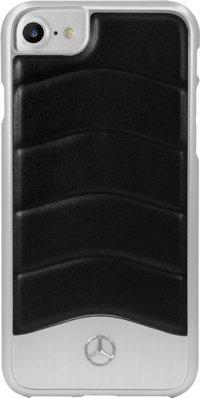 Mercedes-Benz WAVE III Coque en cuir véritable & en aluminium for Apple iPhone 7, Noir