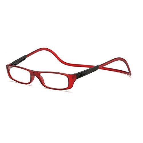 Kalttoy Verbesserte Unisex Magnet Lesebrille Männer Frauen Bunte Verstellbare Hängende Hals Magnetische Vorder presbyopie brille (Weinrot, 3.00)