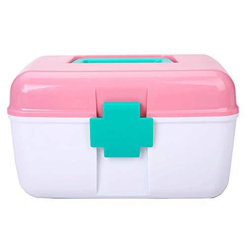Doppelschicht-Kasten-Medizinischer AufbewahrungsbehäLter-Kasten, PlastikbehäLter-Hand Tragen Medizinpille-Speicher-Erste-Hilfe-Kasten-Kasten-Kasten-Haushalt Mehrschichtiger Hauptmedizin-BehäLter Ent