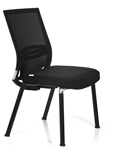 Deals For hjh OFFICE, 657251, Visitor Chair, Conference Chair, PORTO V BASE, black, mesh, fabric, comfort guest chair with stable cantilever frame, ergonomic back rest mesh breathable and lumbar support, thick padded, not stackable Reviews
