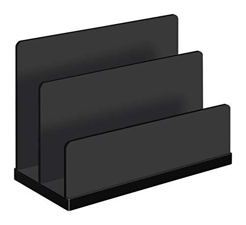 Wedo 633001 Briefständer Black Office Acrylglas, 2 Fächer Gummifüße, 15 x 6, 8 x 10, 7 cm, im Geschenkkarton, Schwarz