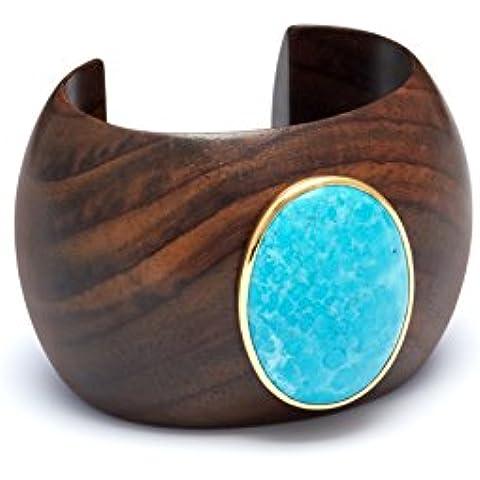 The Branch-Bracciale rigido, colore: blu, misura media, con pietra Howlite Set di 8 cm, colore: oro