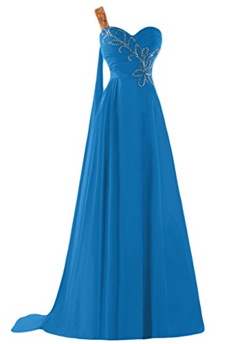 Sunvary A-line uno spalla Chiffon con perline Sbuffi Evening Dresses Homecoming Gowns Blue
