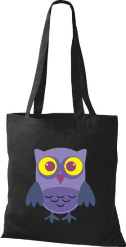 Stoffbeutel Bunte Eule niedliche Tragetasche Owl Retro diverse Farbe schwarz