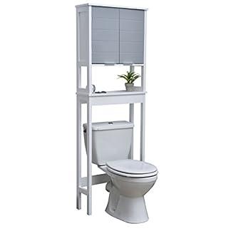 TENDANCE Mueble Encima del retrete WC – 1 Espacio de Almacenamiento 2 Puertas y 1 Estante – Color Blanco y Gris