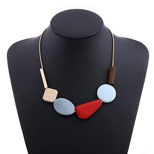 HAOJIUBUJIAN Bunte Harz Perlen Aussage Halskette Frauen Multicolor Holz Halsketten & Anhänger Für Frauen Modeschmuck