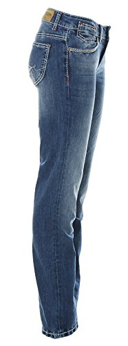 SOCCX Damen Jeans Jeanshose Comfort Fit High Waist Boot Cut Dark Used