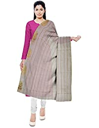 Mubarakpur Weaves' Women's Cotton Silk Handloom Dupatta (Off-White)