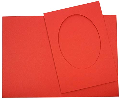 Tophobby 4 Cartes Vierges ovales avec enveloppes Blanches Rouge