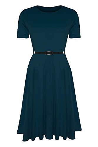 Damen Skater Kleid EInfarbig mit Gürtel Angeschnittene Ärmel Mittellang Swing Übergrößen