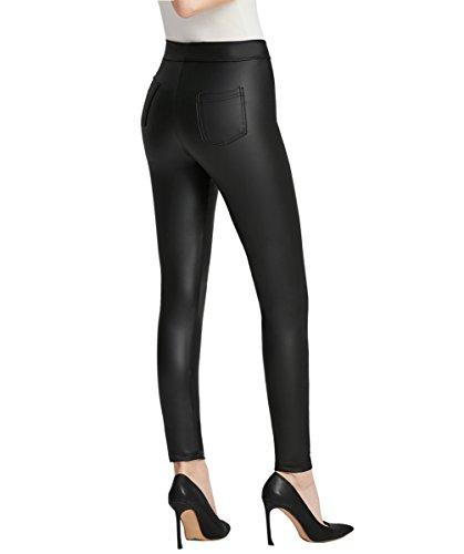 Everbellus Damen Sexy Kunstleder Leggings mit Taschen Skinny Lederhose Schwarz Large