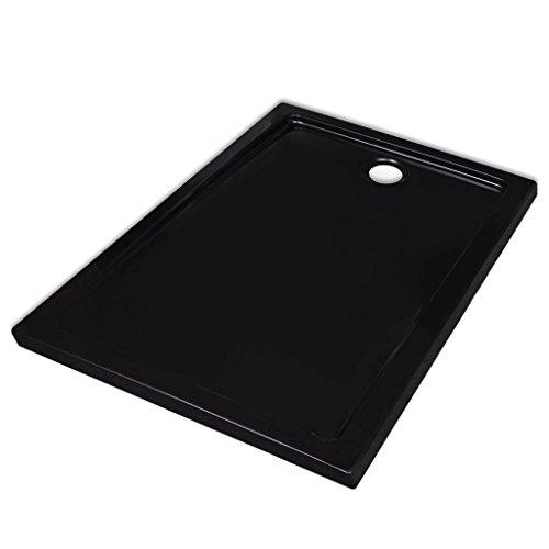 vidaXL Plato de Ducha Rectangular Antideslizante ABS Negra 70x90 cm Placa Baño