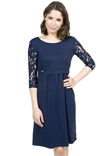 Mania Stillkleid Elegance, schicke & Bequeme Stillmode, ermöglicht diskretes Stillen, Stillkleid + Langarm-Shirt, A-Linie, figurschmeichelnd, dunkelblau mit Spitze, Größe: L