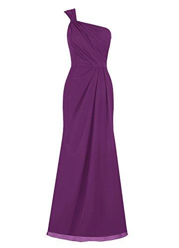 Dresstells, Epaule asymétrique robe de soirée, robe de cérémonie, robe longue de demoiselle d'honneur Raisin