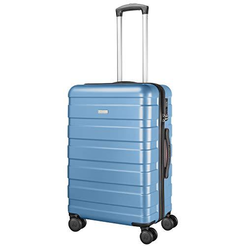 AMASAVA 4 Rollen Hartschale Koffer Rollkoffer Trolley Reisekoffer mit TSA-Schloss ABS+PC Zwillingsrollen Hartschalentrolley Taschen Gepäck 66CM (Hellblau,...