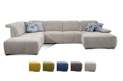 Preisvergleich Produktbild CAVADORE Wohnlandschaft Tabagos / U-Form mit Ottomane links / XXL Sofa mit Sitztiefenverstellung / Kopfteilverstellung / 364 x 85 x 248 / Grau-Weiß