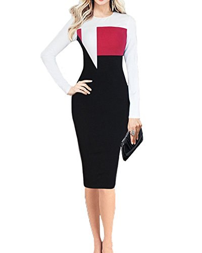 SaiDeng Manches Longues Midi Robe Moulante Taille Haute Slim Travail Robe Crayon De Femmes Rouge
