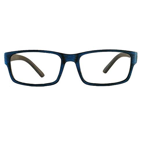 Lesebrille Lesehilfe Holz Look Optik drei Farben wählbar von +1,0 +1,5 +2,0 +2,5 +3,0 Lesebrillen (blau, 2.0)