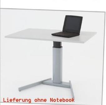 Conset Elektrisch Verstellbarer Mono Säulentisch Stehpult mit Tischplatte Grau