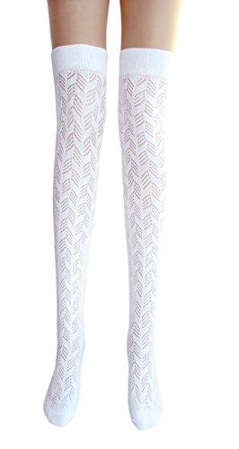 JHosiery Damen weißen Oberschenkel hohe Pointelle Baumwollstrümpfe (1 Paar botanischen Blatt) -
