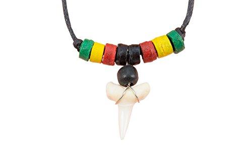 Jamaika Karneval Kostüm - Erlebnis-Mittelalter Bone-Kette Knochenkette (Bone-Kette Haifisch-Zahn bunt)
