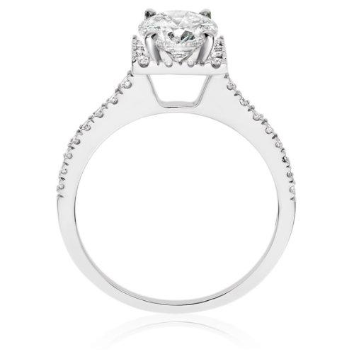 Diamond Manufacturers, Damen Verlobungsring mit 0.75 Karat G/VS1 feinem und zertifiziertem Runddiamant in Platin - 3
