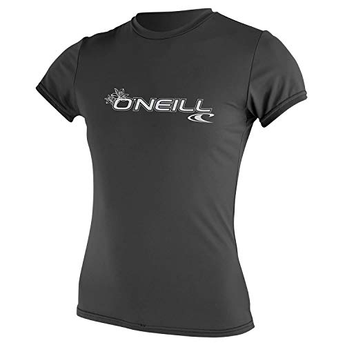 O'Neill - Basic Skins S/S Rash Tee (Damen) Rashguard Graphite - UV Shirt - Surf SUP Windsurf Kite, Größe:XS - Basic Damen Lycra Shirt