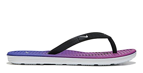 Nike Solarsoft Thong 2 Prnt (Gs/Ps), Tongs Fille, Noir, [TOP] Noir / Blanc / Rose (Black / White-Deep Night-Fr Pink)