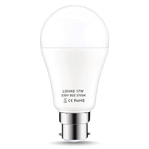 LOHAS B22 LED Bulb 150W Equivalent, 17W LED Bayonet Light, Warm White 2700K, Super Bright 1600Lm, Non-Dimmable, Energy Saving Light Bulb, 1 Pack