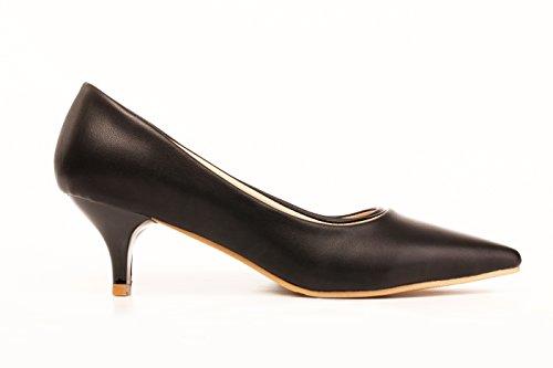 ny's Black Dress Kostüm Schwarze Pumps aus Premium Vegan Leder (42 (US11 / 11.5)) ()