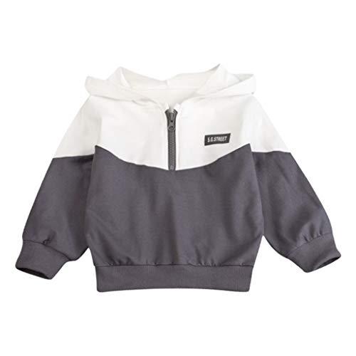 Baby Jungen Kapuzenpullover Dasongff Niedlich Sweater Zip Hoodie Pullover Patchwork Kontrast Sweatjacke 1-3 Jahre