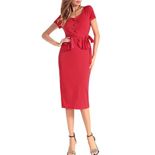 Rocke Damen Kleid Free Straps Kurzarm Solid Color Slim Hip Step Rock Frühling Kleid (Farbe : Red, Size : XXL) -