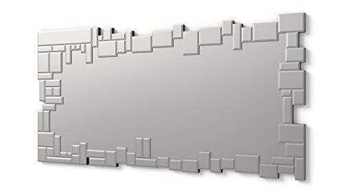 DEKOARTE Moderner großer dekorativer Wandspiegel mit Rahmen verziert mit Kristallen in verschiedenen Ebenen (Silber, 140x70 cm)