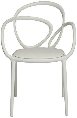 Qeeboo Loop Set Sedie con Cuscino, Polipropilene, Bianco, 52x56x84 cm, 2 unità