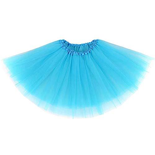 Frauen Kostüm Tanzkleider - Ruiuzi Damen Tütü Rock Minirock 4 Lagen Petticoat Tanzkleid Dehnbaren Mini Skater Tutu Rock Erwachsene Ballettrock Tüllrock für Party Halloween Kostüme Tanzen (Himmelblau)