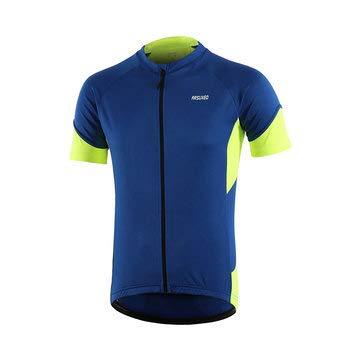 JenNiFer Männer Radtrikot Shirts Ärmel Sport Bike Sommer Fahrrad Bekleidung T-Shirt Top - Blau - S