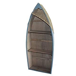 Asia Art Factory AAF Nommel®, Boot Regal 91 cm x 38 cm x 13 cm, Kiefernholz, Maritim Dekor im Shabby Look, Nr. 011
