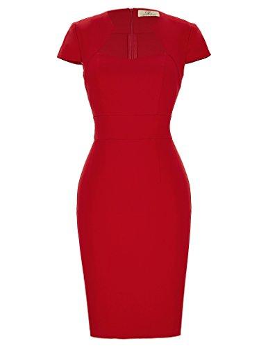 GRACE KARIN Damenkleider elegant festlich Sommerkleid Rockabilly Kleid 50er Pencil Kleid rot Etuikleider CL8947-2 L